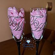 Бокалы ручной работы. Ярмарка Мастеров - ручная работа Свадебные бокалы с кристаллами Swarovski. Handmade.