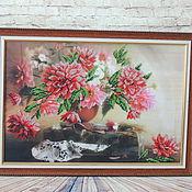 Картины и панно ручной работы. Ярмарка Мастеров - ручная работа Картина  бисером цветы. Handmade.
