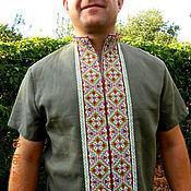 Одежда ручной работы. Ярмарка Мастеров - ручная работа Льняная вышиванка на каждый день. Handmade.