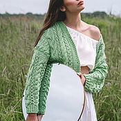 handmade. Livemaster - original item Jackets: Summer jacket in the color of green apple oversize. Handmade.