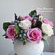 Интерьерные композиции ручной работы. Ярмарка Мастеров - ручная работа. Купить Композиция с розами и брунией.. Handmade. Розовый, композиция для интерьера