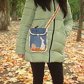 Маленькая джинсовая сумочка- карман. Сумочка для мелочей.