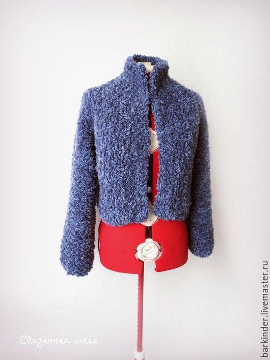"""Пиджаки, жакеты ручной работы. Ярмарка Мастеров - ручная работа. Купить Вязаный жакет """"Кучерявый"""". Handmade. Синий, вязаный жакет"""