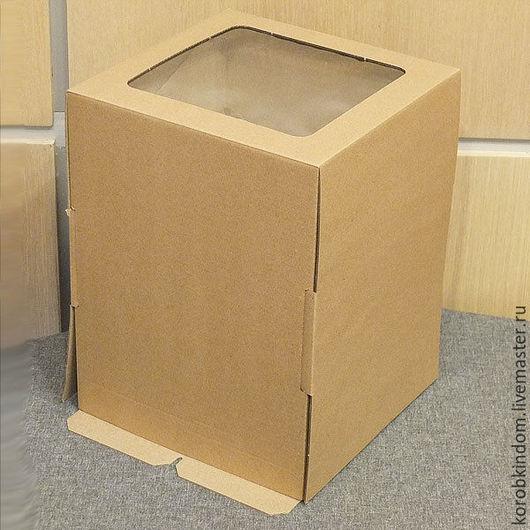 """Упаковка ручной работы. Ярмарка Мастеров - ручная работа. Купить Коробка 19х19х25 """"крышка-дно"""" (высокая крышка) микрогофрокартон, окно. Handmade."""