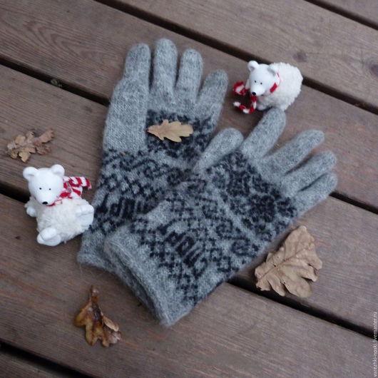 Варежки, митенки, перчатки ручной работы. Ярмарка Мастеров - ручная работа. Купить перчатки мужские теплые. Handmade. Серый, орнамент