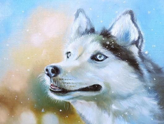 Животные ручной работы. Ярмарка Мастеров - ручная работа. Купить Снежный.... Handmade. Купить картину маслом, голубые глаза