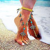 Украшения ручной работы. Ярмарка Мастеров - ручная работа Пляжное украшение на ногу Bali, босые сандалии, браслет на ногу. Handmade.