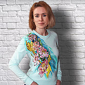 handmade. Livemaster - original item Mint sweatshirt with a pattern of Lotus lilies, goldfish hand-painted. Handmade.