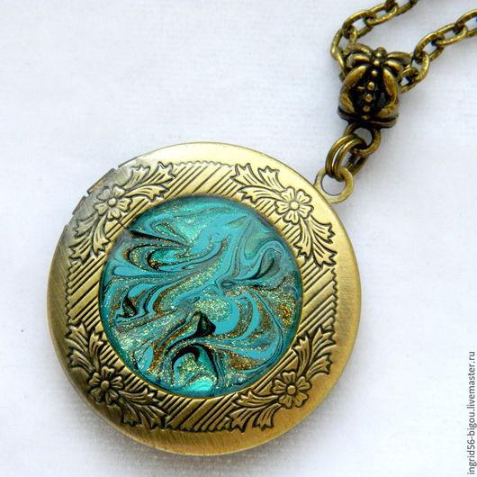 Кулоны, подвески ручной работы. Ярмарка Мастеров - ручная работа. Купить Подвеска кулон медальон для фото открывающийся бирюзовый в бронзе. Handmade.