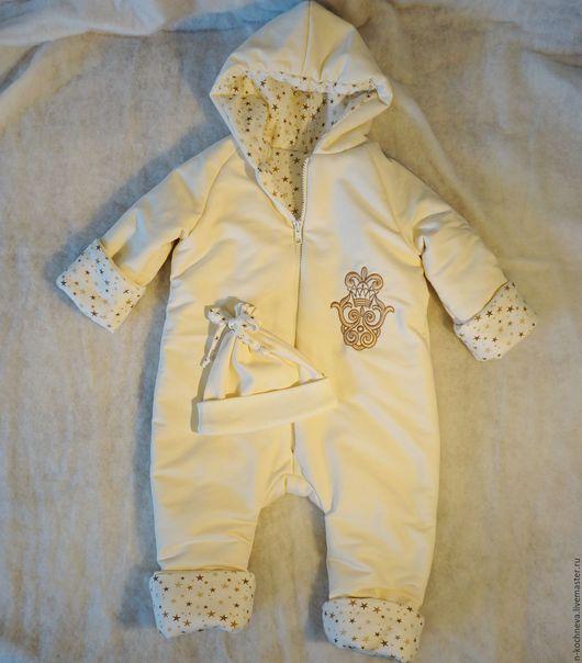 Одежда для девочек, ручной работы. Ярмарка Мастеров - ручная работа. Купить Комбинезон утепленный и шапочка для малыша. Handmade. Бежевый