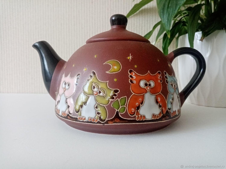 Керамический чайник ручной работы: Совы на ветке, Чайники, Краснодар,  Фото №1