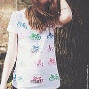 """Одежда ручной работы. Ярмарка Мастеров - ручная работа Майка """"Велосипеды"""". Handmade."""