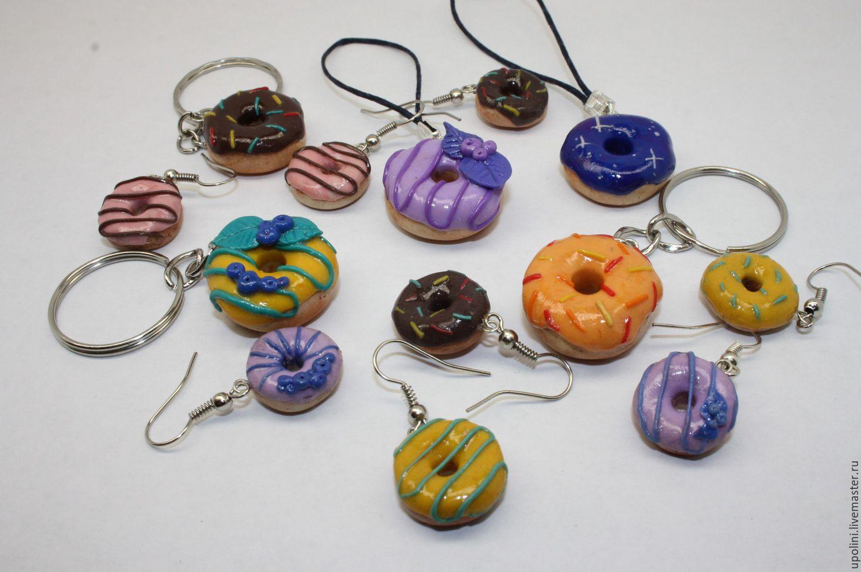 Серьги пончики из полимерной глины