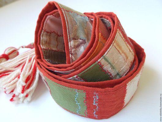 Этническая одежда ручной работы. Ярмарка Мастеров - ручная работа. Купить Пояс длинный двухсторонний,с кистями.. Handmade. Рыжий