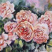 Картина акварелью с розами - Июньские розы живопись