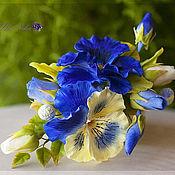 Украшения ручной работы. Ярмарка Мастеров - ручная работа Брошь с виолой сине-желтая.Полимерная глина. Handmade.