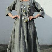 Одежда ручной работы. Ярмарка Мастеров - ручная работа Платье Флоренция серое льняное. Handmade.