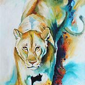 Картины и панно handmade. Livemaster - original item Oil painting Lioness on the hunt. Handmade.