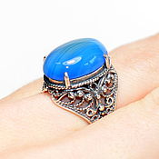 Украшения handmade. Livemaster - original item Unusual ring of natural blue agate(a). Handmade.