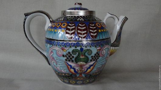 Персональные подарки ручной работы. Ярмарка Мастеров - ручная работа. Купить Чайник с орнаментом. Handmade. Фарфор, комбинированный