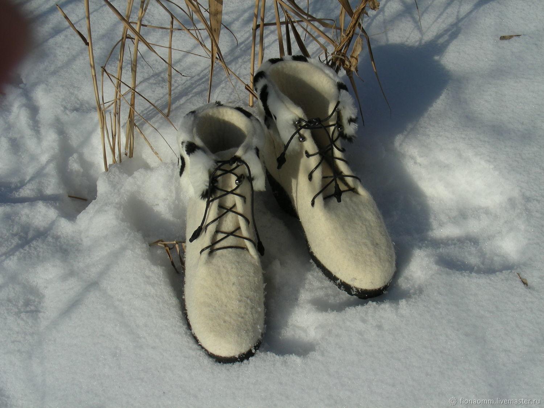 """Обувь ручной работы. Ярмарка Мастеров - ручная работа. Купить Полусапожки из войлока """"Герда"""". Handmade. Белый, ботинки, тепло зимой"""