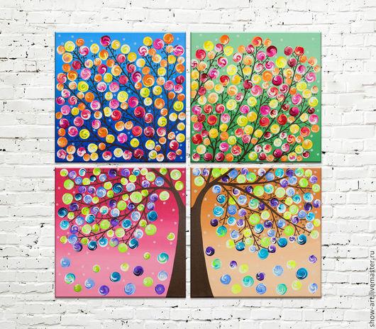 """Абстракция ручной работы. Ярмарка Мастеров - ручная работа. Купить """"Времена года"""" Модульная картина. Handmade. Разноцветный, розовый, яркий"""