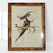 Картины ручной работы. Ярмарка Мастеров - ручная работа Этюд: Вышивка крестом Дама в кафе. Handmade.