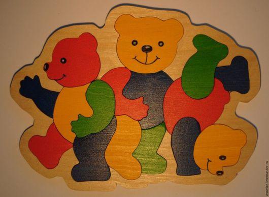 """Развивающие игрушки ручной работы. Ярмарка Мастеров - ручная работа. Купить Пазл """"Мишки"""". Handmade. Пазлы из дерева, мишки"""