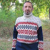 Одежда ручной работы. Ярмарка Мастеров - ручная работа свитер с жаккардовым рисунком разноцветный. Handmade.