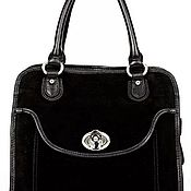 Винтаж handmade. Livemaster - original item Handbag made of genuine leather in black color. Italy, brand. Handmade.