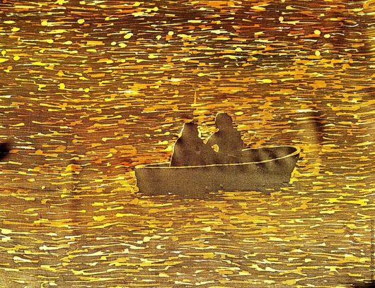 Шали, палантины ручной работы. Ярмарка Мастеров - ручная работа. Купить Платок шелковый Двое в лодке батик. Handmade. Платок