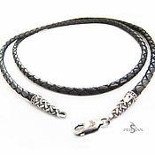 Украшения handmade. Livemaster - original item Chalker: Leather cord with silver chain mail. Handmade.