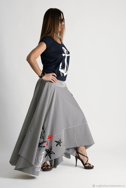 Long skirt, Sea summer asymmetrical skirt-SK0510CT, Skirts, Sofia,  Фото №1