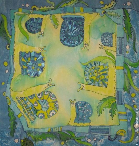 """Шали, палантины ручной работы. Ярмарка Мастеров - ручная работа. Купить Батик. Платок """" Улитки"""". Handmade. Разноцветный, Батик"""
