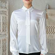 Блузки ручной работы. Ярмарка Мастеров - ручная работа Белая шелковая блузка. Handmade.