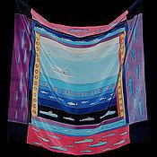 """Аксессуары ручной работы. Ярмарка Мастеров - ручная работа Шелковый платок """"В океане"""". Handmade."""