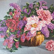 handmade. Livemaster - original item The picture is embroidered Bouquet of lilacs. Handmade.