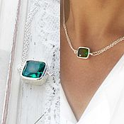 Украшения handmade. Livemaster - original item Necklace emerald Topaz sterling silver stylish necklace minimalist. Handmade.