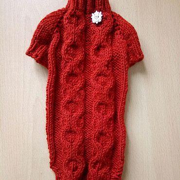 Товары для питомцев ручной работы. Ярмарка Мастеров - ручная работа Вязаный терракотовый свитерок. Handmade.