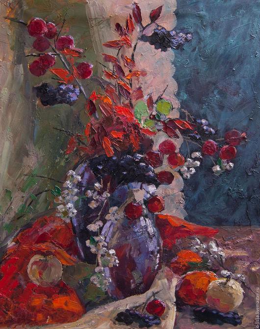 Натюрморт ручной работы. Ярмарка Мастеров - ручная работа. Купить Осенние плоды. Handmade. Ярко-красный, искусство, натюрморт, подарок