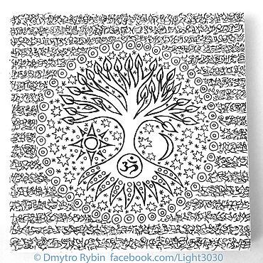Картины и панно ручной работы. Ярмарка Мастеров - ручная работа Древо жизни на фоне фантастического текста.. Handmade.