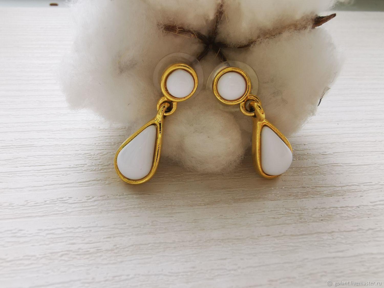 Earrings vintage: Earrings with white inserts, Vintage earrings, Kaliningrad,  Фото №1