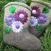 Обувь ручной работы. Ярмарка Мастеров - ручная работа Валенки с герберами. Handmade.