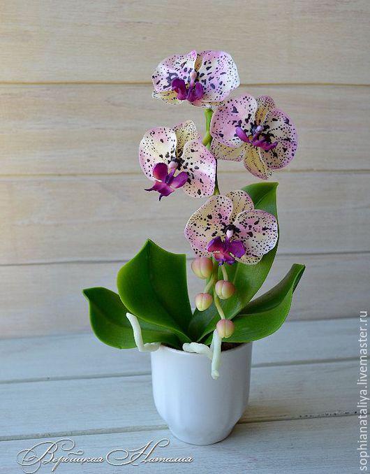 Цветы ручной работы. Ярмарка Мастеров - ручная работа. Купить Орхидея  из полимерной глины с крапом. Handmade. Вербицкая наталия, комбинированный