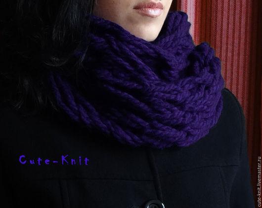 Чтобы лучше рассмотреть модель, нажмите на фото CUTE-KNIT Ната Онипченко Ярмарка Мастеров Фиолетовый снуд вязаный руками без спиц