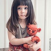 Работы для детей, ручной работы. Ярмарка Мастеров - ручная работа Красно-серое детское платье с розами. Handmade.