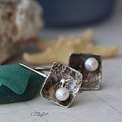 Украшения handmade. Livemaster - original item Earrings made of German silver and brass with pearls