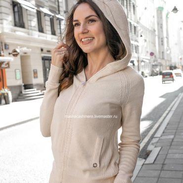 Одежда ручной работы. Ярмарка Мастеров - ручная работа Кашемировый костюм с капюшоном Молочный. Handmade.