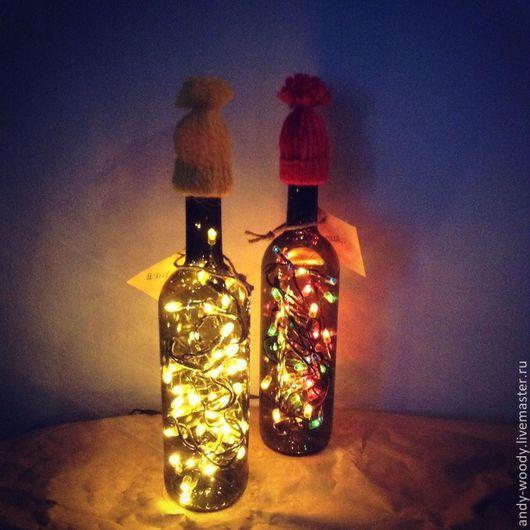 """Освещение ручной работы. Ярмарка Мастеров - ручная работа. Купить Гирлянда """"Бутылка в шапке"""". Handmade. Гирлянда, новогодний подарок, ночник"""
