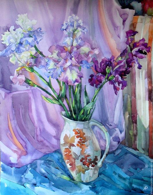 Картины цветов ручной работы. Ярмарка Мастеров - ручная работа. Купить Ирисы-2. Handmade. Комбинированный, акварельная картина, цветы